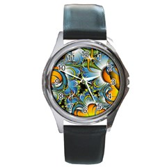 High Detailed Fractal Image Background With Abstract Streak Shape Round Metal Watch