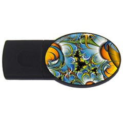 High Detailed Fractal Image Background With Abstract Streak Shape USB Flash Drive Oval (1 GB)