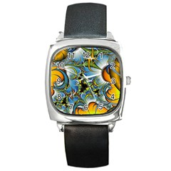 High Detailed Fractal Image Background With Abstract Streak Shape Square Metal Watch
