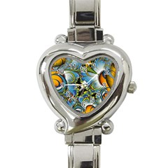 High Detailed Fractal Image Background With Abstract Streak Shape Heart Italian Charm Watch