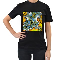 High Detailed Fractal Image Background With Abstract Streak Shape Women s T Shirt (black) (two Sided)