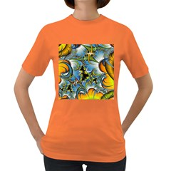 High Detailed Fractal Image Background With Abstract Streak Shape Women s Dark T Shirt