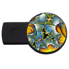 High Detailed Fractal Image Background With Abstract Streak Shape USB Flash Drive Round (4 GB)