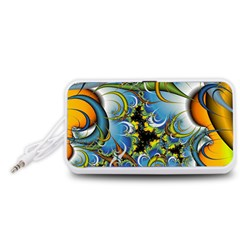 High Detailed Fractal Image Background With Abstract Streak Shape Portable Speaker (White)