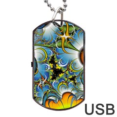 High Detailed Fractal Image Background With Abstract Streak Shape Dog Tag Usb Flash (two Sides)