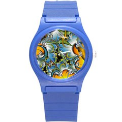 High Detailed Fractal Image Background With Abstract Streak Shape Round Plastic Sport Watch (S)