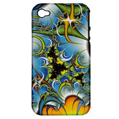 High Detailed Fractal Image Background With Abstract Streak Shape Apple iPhone 4/4S Hardshell Case (PC+Silicone)