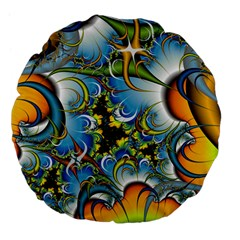 High Detailed Fractal Image Background With Abstract Streak Shape Large 18  Premium Flano Round Cushions