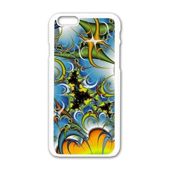 High Detailed Fractal Image Background With Abstract Streak Shape Apple iPhone 6/6S White Enamel Case