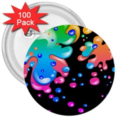 Neon Paint Splatter Background Club 3  Buttons (100 Pack)