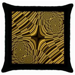 Fractal Golden River Throw Pillow Case (black)