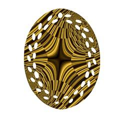 Fractal Golden River Oval Filigree Ornament (Two Sides)