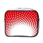 Polka Dot Circle Hole Red White Mini Toiletries Bags Front