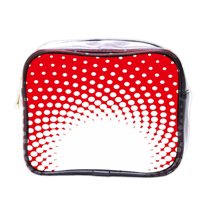 Polka Dot Circle Hole Red White Mini Toiletries Bags