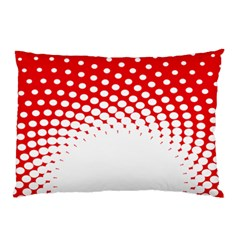 Polka Dot Circle Hole Red White Pillow Case (two Sides)