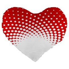 Polka Dot Circle Hole Red White Large 19  Premium Flano Heart Shape Cushions