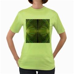Color Fractal Symmetric Wave Lines Women s Green T Shirt
