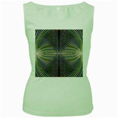 Color Fractal Symmetric Wave Lines Women s Green Tank Top