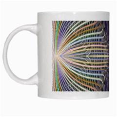 Color Fractal Symmetric Wave Lines White Mugs