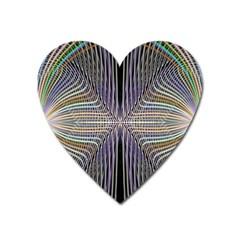 Color Fractal Symmetric Wave Lines Heart Magnet