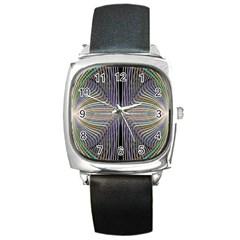 Color Fractal Symmetric Wave Lines Square Metal Watch
