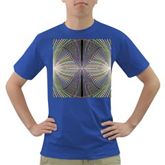 Color Fractal Symmetric Wave Lines Dark T Shirt