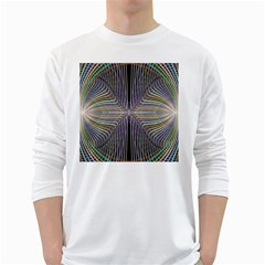 Color Fractal Symmetric Wave Lines White Long Sleeve T Shirts