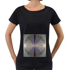 Color Fractal Symmetric Wave Lines Women s Loose-Fit T-Shirt (Black)