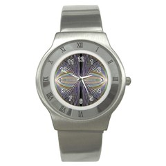Color Fractal Symmetric Wave Lines Stainless Steel Watch