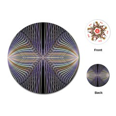 Color Fractal Symmetric Wave Lines Playing Cards (round)