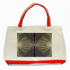Color Fractal Symmetric Wave Lines Classic Tote Bag (red)