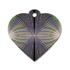 Color Fractal Symmetric Wave Lines Dog Tag Heart (two Sides)