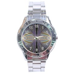 Color Fractal Symmetric Wave Lines Stainless Steel Analogue Watch