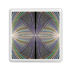 Color Fractal Symmetric Wave Lines Memory Card Reader (square)