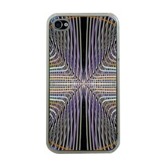 Color Fractal Symmetric Wave Lines Apple Iphone 4 Case (clear)