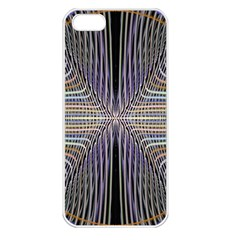 Color Fractal Symmetric Wave Lines Apple iPhone 5 Seamless Case (White)