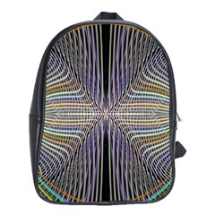Color Fractal Symmetric Wave Lines School Bags (xl)
