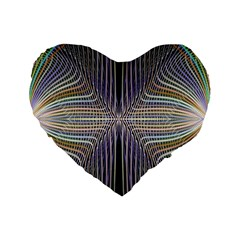 Color Fractal Symmetric Wave Lines Standard 16  Premium Heart Shape Cushions