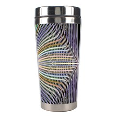 Color Fractal Symmetric Wave Lines Stainless Steel Travel Tumblers