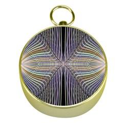 Color Fractal Symmetric Wave Lines Gold Compasses