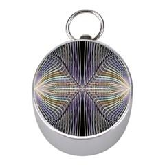 Color Fractal Symmetric Wave Lines Mini Silver Compasses
