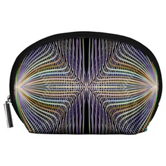 Color Fractal Symmetric Wave Lines Accessory Pouches (Large)