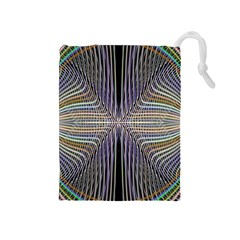 Color Fractal Symmetric Wave Lines Drawstring Pouches (Medium)