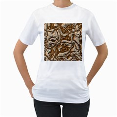 Fractal Background Mud Flow Women s T Shirt (white) (two Sided)