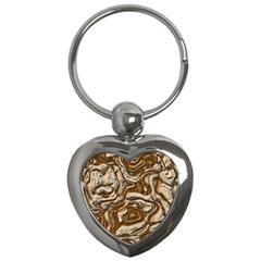 Fractal Background Mud Flow Key Chains (heart)