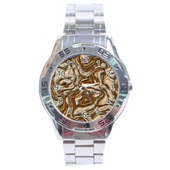 Fractal Background Mud Flow Stainless Steel Analogue Watch