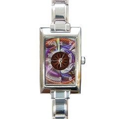 Background Image With Hidden Fractal Flower Rectangle Italian Charm Watch
