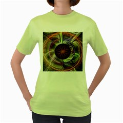 Background Image With Hidden Fractal Flower Women s Green T Shirt