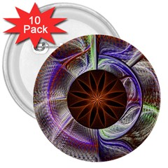 Background Image With Hidden Fractal Flower 3  Buttons (10 pack)