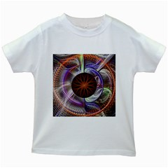 Background Image With Hidden Fractal Flower Kids White T Shirts